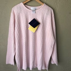 Susan Graver Pink Cable Knit Acrylic Sweater 2X